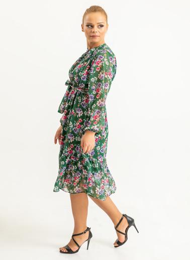 Foremia Yakasa Düğme Detaylı Çiçek Desen Elbise Yeşil